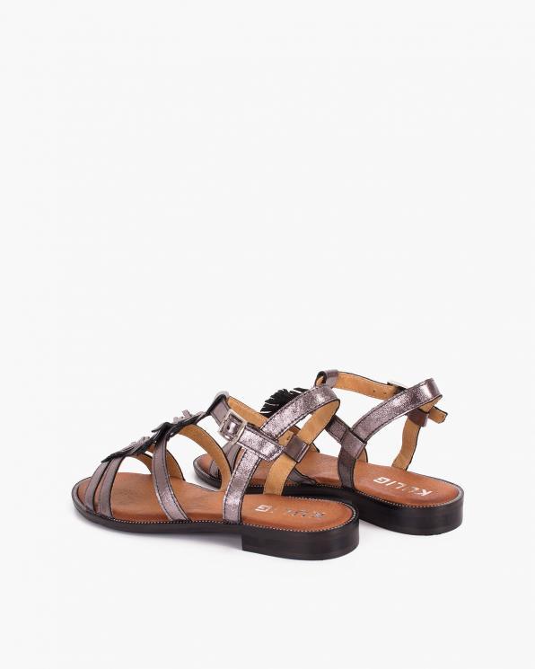 Platynowe sandały damskie skórzane   043-635-PLATYNA
