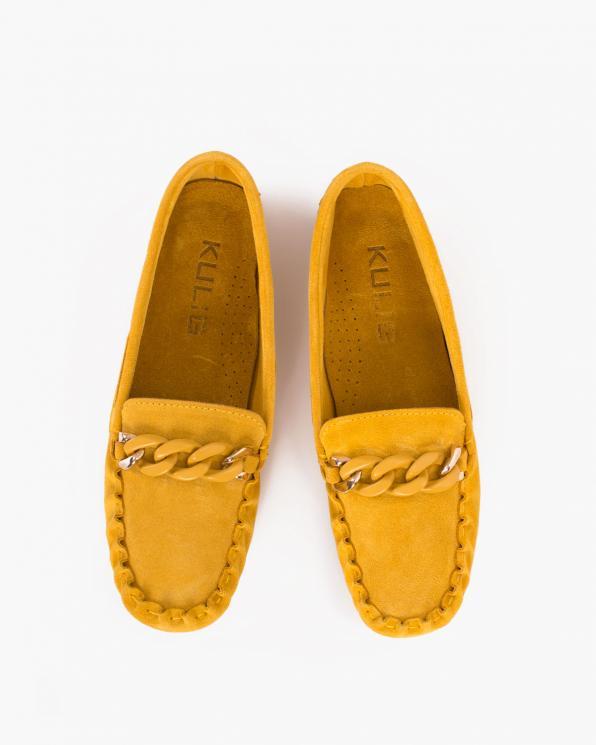 Żółte mokasyny damskie welurowe z łańcuchem  114-626-YELLOW