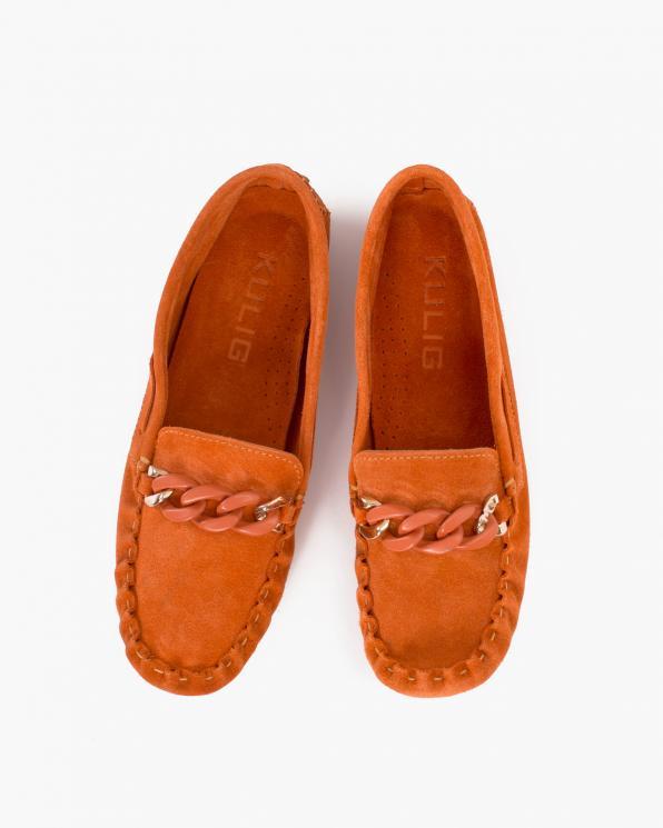 Pomarańczowe mokasyny damskie welurowe z łańcuchem  114-626-ORANGE