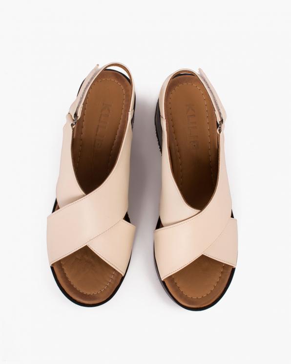 Beżowe sandały damskie skórzane na koturnie  084-1081-BEŻ