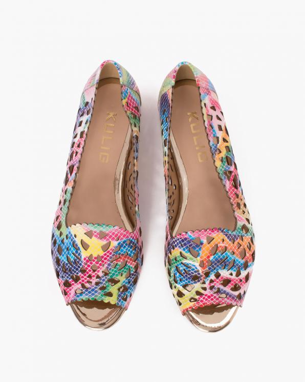 Wielokolorowe sandały damskie skórzane z motywem  115-8-KOLOR