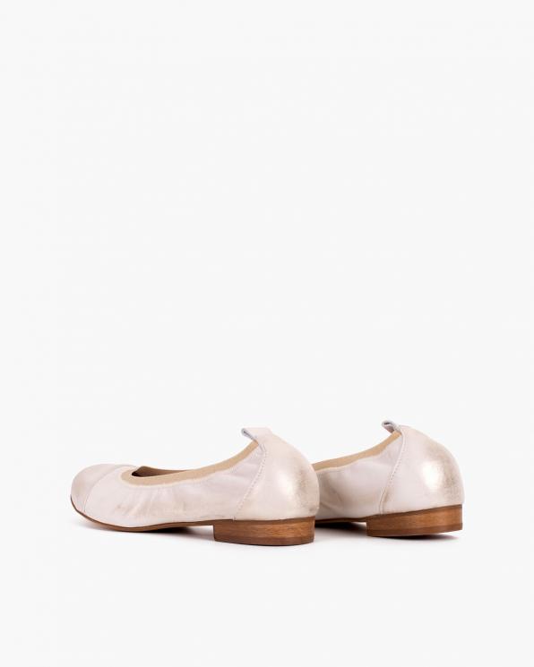 Złote baleriny skórzane z gumką  113-6751-ZŁOTE