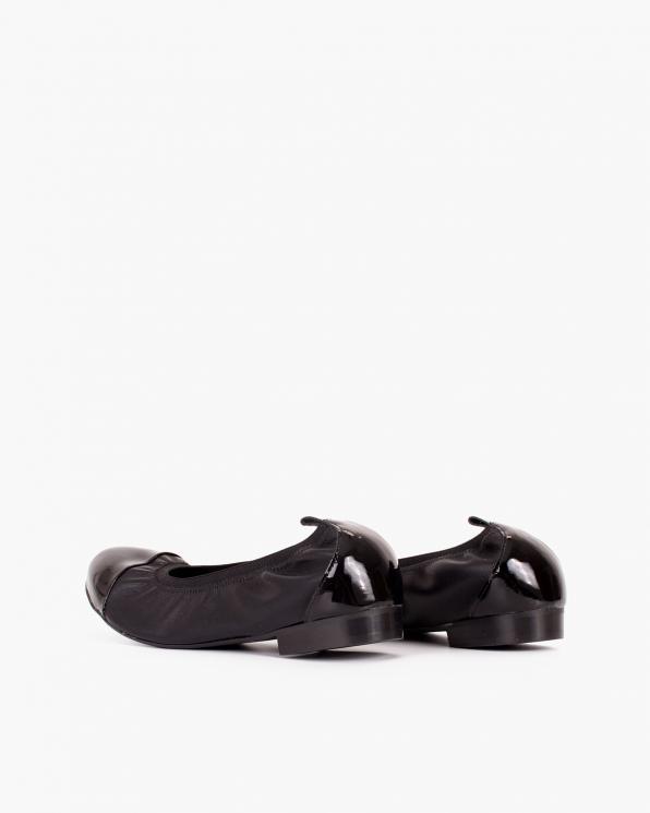 Czarne baleriny skórzane z gumką  113-6751-CZARNY