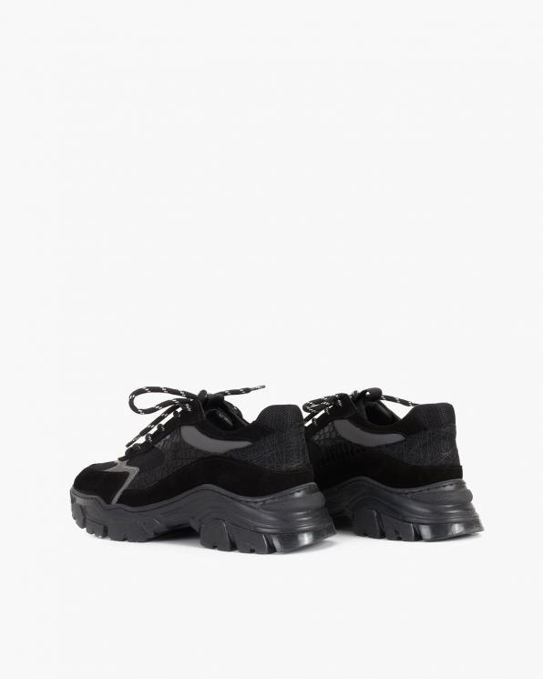 Czarne sneakersy zamszowe  116-368-008-CZAR