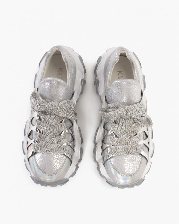 Srebrne sneakersy skórzane  116-109-002-SREB