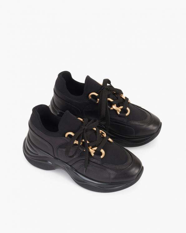 Czarne sneakersy skórzane  116-106-004-CZAR