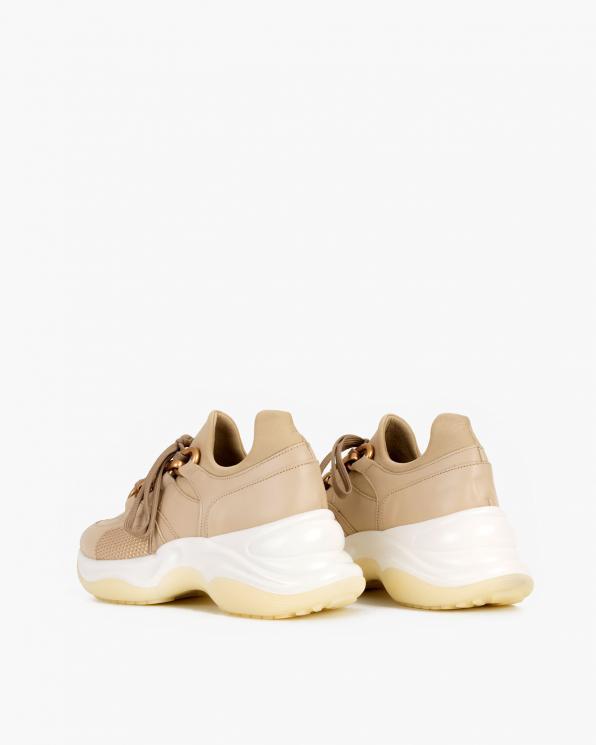 Beżowe sneakersy skórzane  116-106-004-BEŻ