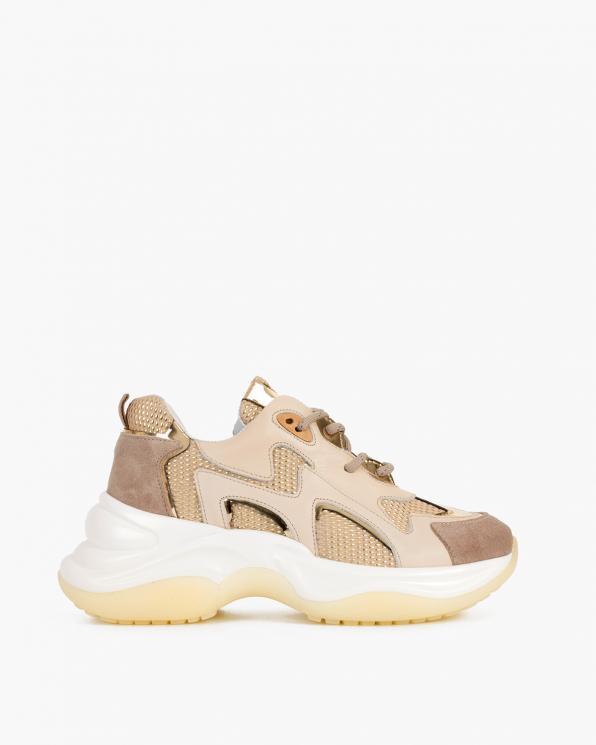 Beżowo-złote sneakersy skórzane  116-106-003-BEŻ