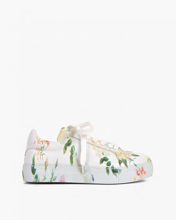 Białe trampki damskie skórzane z kwiatami  116-055-020-RÓŻE