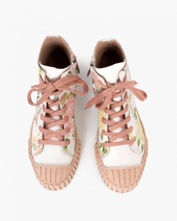 Beżowo-białe trampki damskie skórzane z kwiatami  116-006-061-RÓŻE