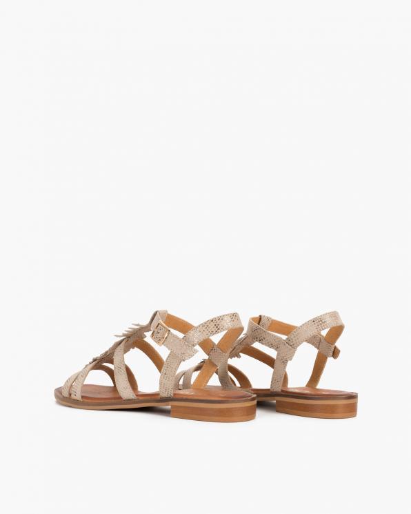 Beżowe sandały damskie skórzane  043-635-BEŻ