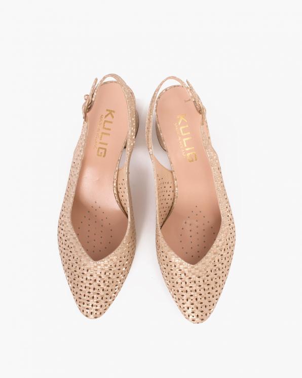 Złote sandały damskie nubukowe z brokatem  024-2489-5991