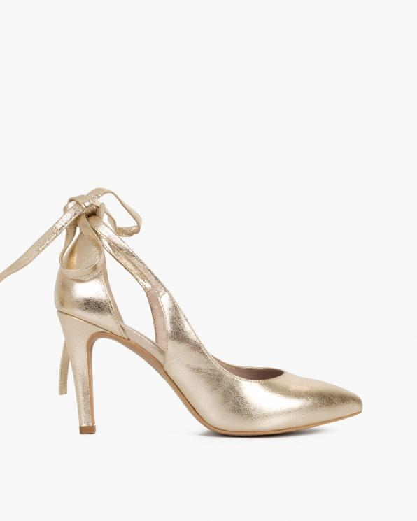 Złote czółenka damskie wiązane  034-5927-ZŁO-LIC
