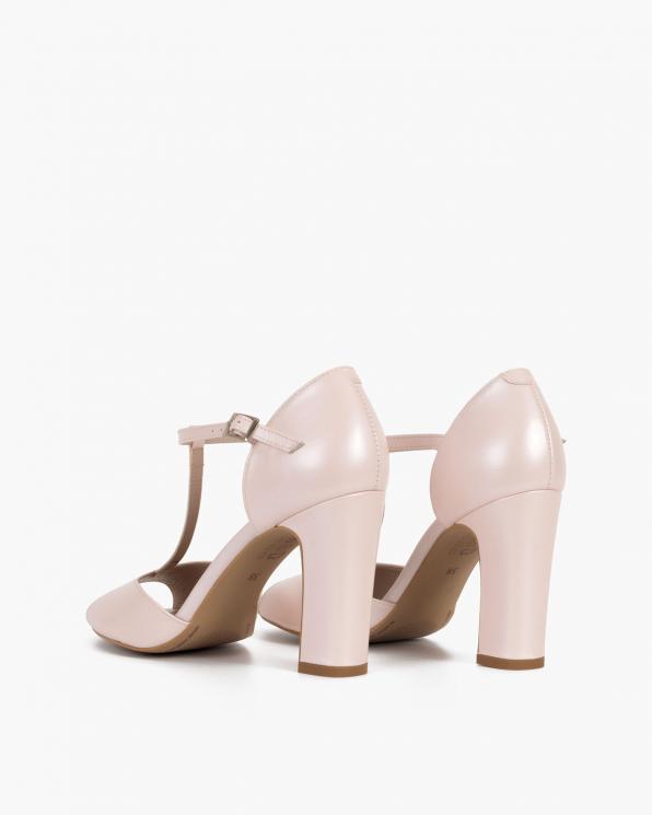 Perłowe sandały damskie skórzane na słupku  034-5395-PER-RÓŻ