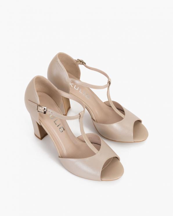 Perłowe sandały damskie skórzane na słupku  034-5395-PER-LIC
