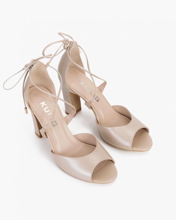 Perłowe sandały damskie skórzane na słupku  034-1095-PER-LIC