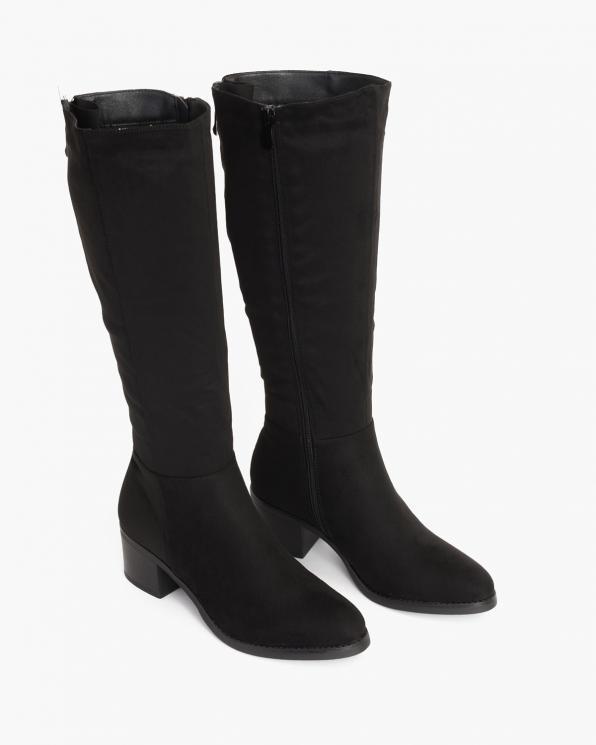 Czarne kozaki damskie zamszowe  105-12239-CZARNY