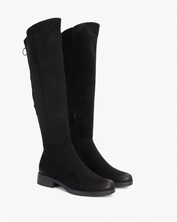 Czarne kozaki damskie zamszowe  105-10667-CZARNY