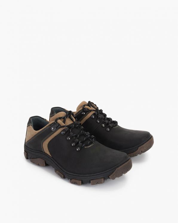 Czarne półbuty męskie skórzane trekkingowe  071-149-BARKA