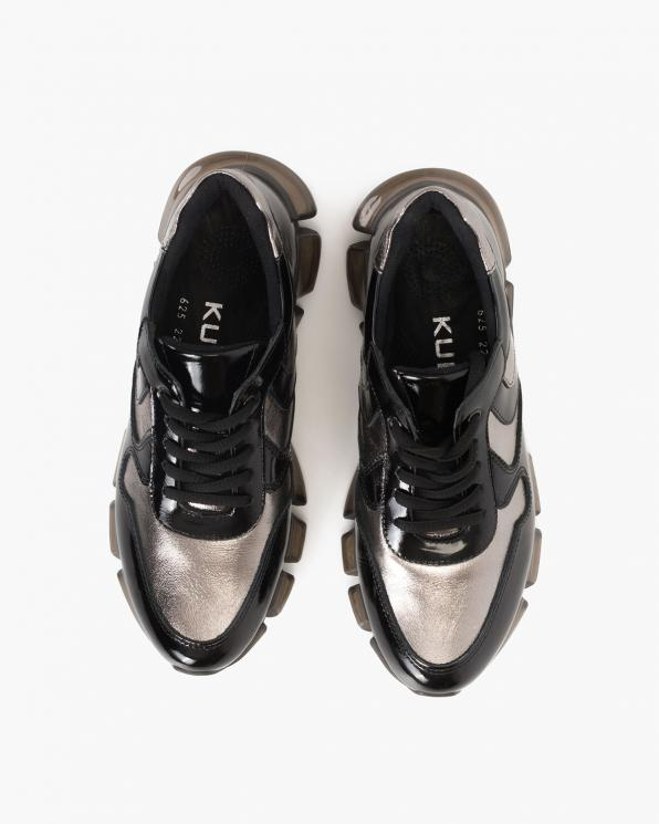 Czarno-srebrne sneakersy lakierowane  108-625-SREBRNY