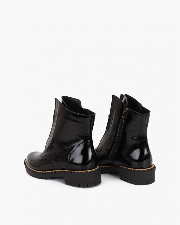 Czarne botki lakierowane z zamkiem  058-4025-CZARNY