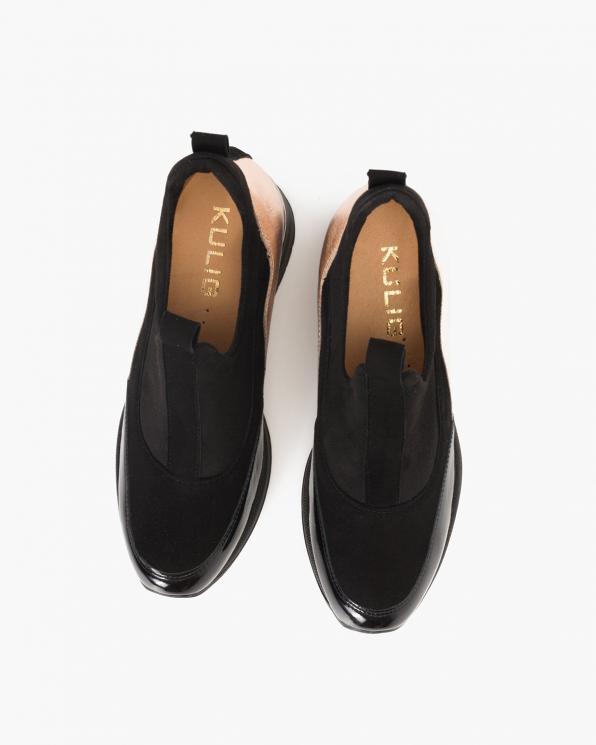Czarno-złote sneakersy zamszowe  119-5587-CZARNY