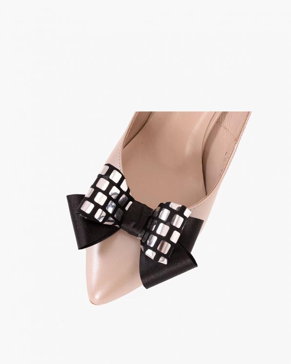 Srebrno-czarne kokardki do butów  COQ-494-DISCO