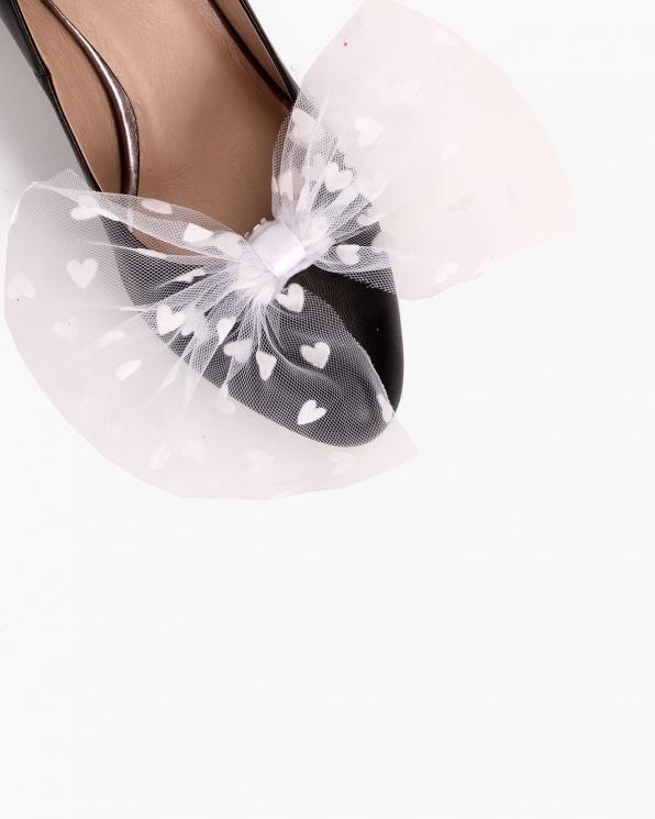 Białe kokardki do butów tiulowe  COQ-1248-BRIDE