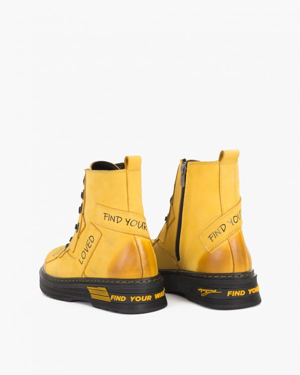 Żółte trzewiki damskie nubukowe z napisami  084-335-ŻÓŁTY