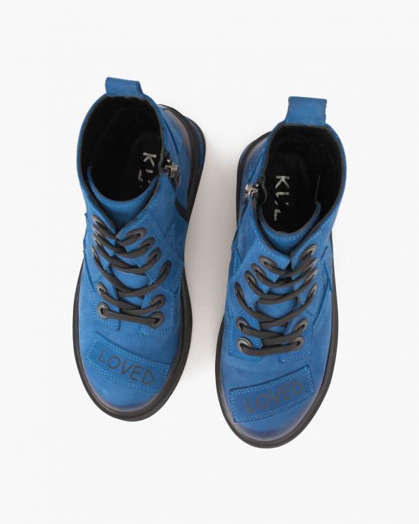Niebieskie trzewiki damskie nubukowe z napisami  084-335-SZAFIR