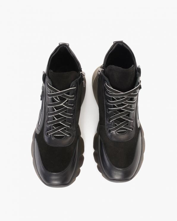 Czarne sneakersy skórzane z zamkiem  086-800-CZARNY