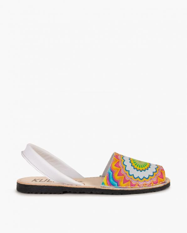 Wielokolorowe sandały skórzane z motywem  009 -291-SERIGRA