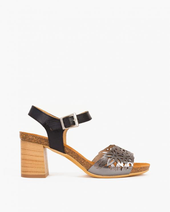 Srebrne sandały na słupku ażurowe  009 -73381-ANTRA