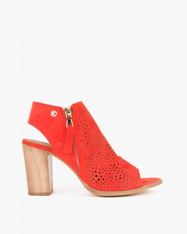 Czerwone sandały welurowe ażurowe  005 -15381-CZERW