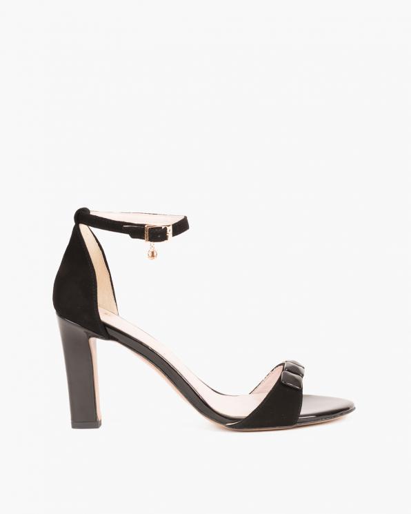 Czarne sandały na słupku z ozdobą  053 -2980-CZARNY