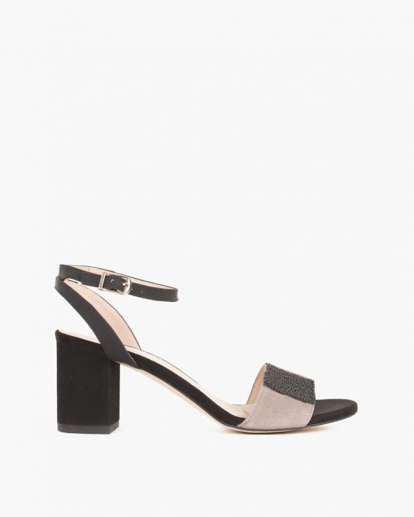 Czarne sandały welurowe na słupku  012 -5293-CZ/SZA