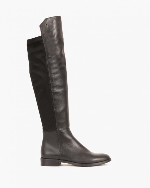Czarne kozaki damskie skórzane  005 -50717-C16SK