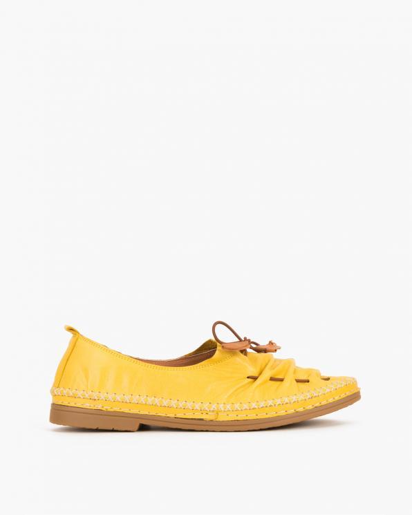 Żółte mokasyny skórzane ze sznurkiem  078 86601-ŻÓŁTY