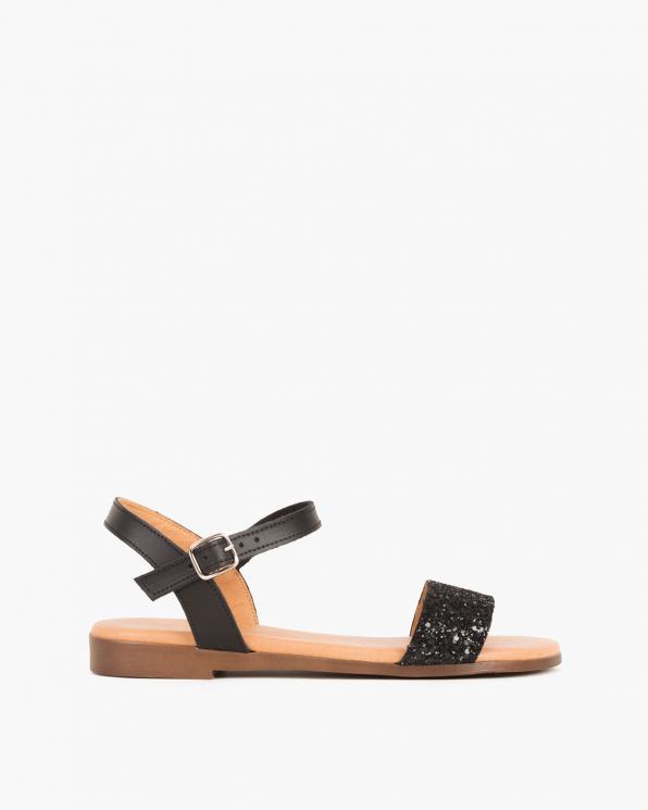 Czarne sandały skórzane z brokatem  009 0919-NEGRO