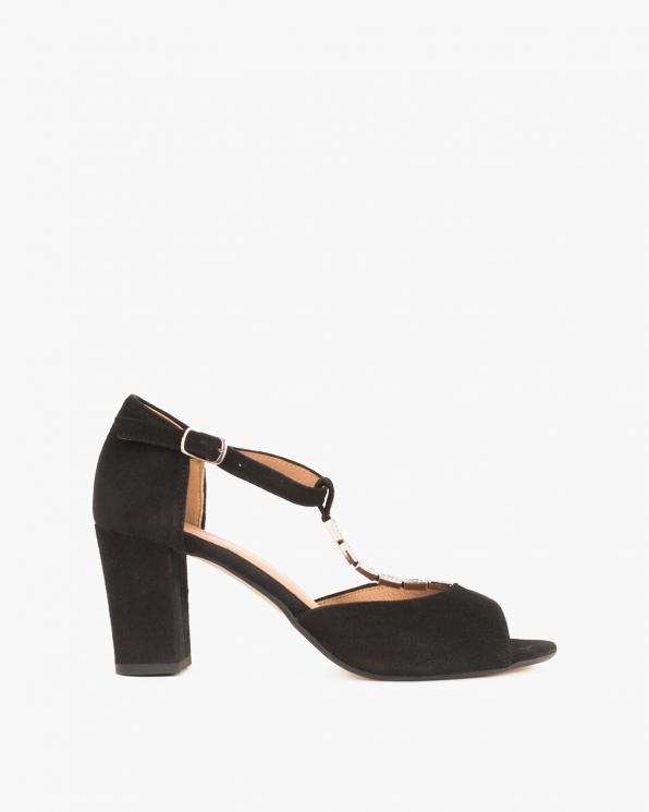 Czarne sandały zamszowe na słupku  061 5522-CZARNY