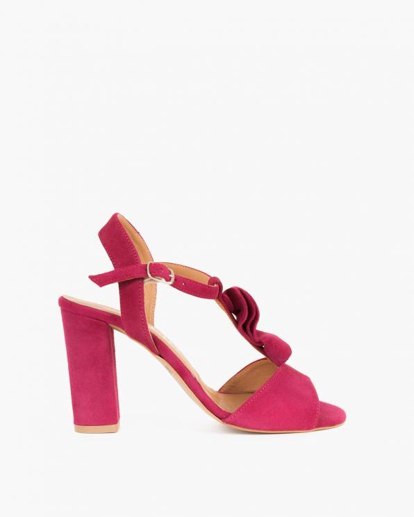 Bordowe sandały zamszowe na słupku  061 4922-BORDO