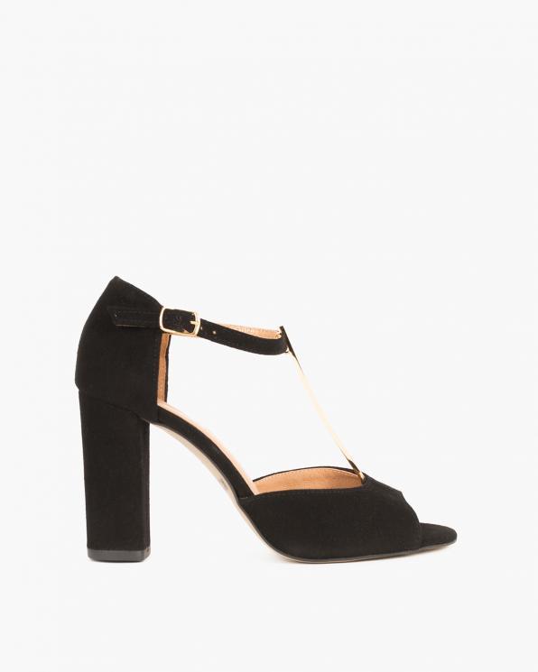 Czarne sandały zamszowe na słupku  061 2202-CZARNY