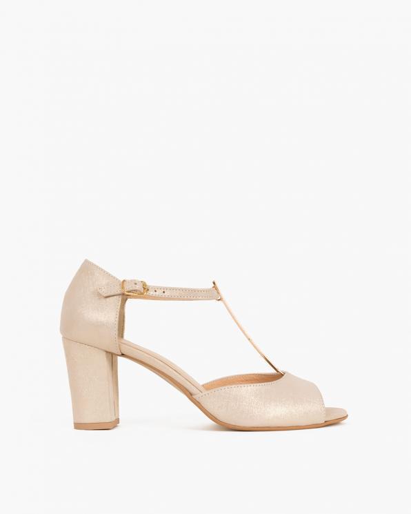 Beżowe sandały nubukowe na słupku  061 5522N LEN