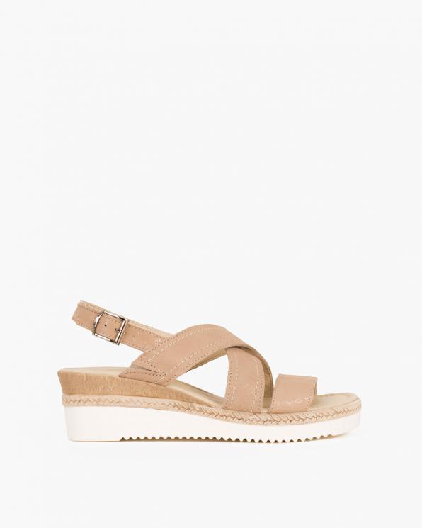 Beżowe sandały nubukowe na koturnie  043 705-BEŻ NUB
