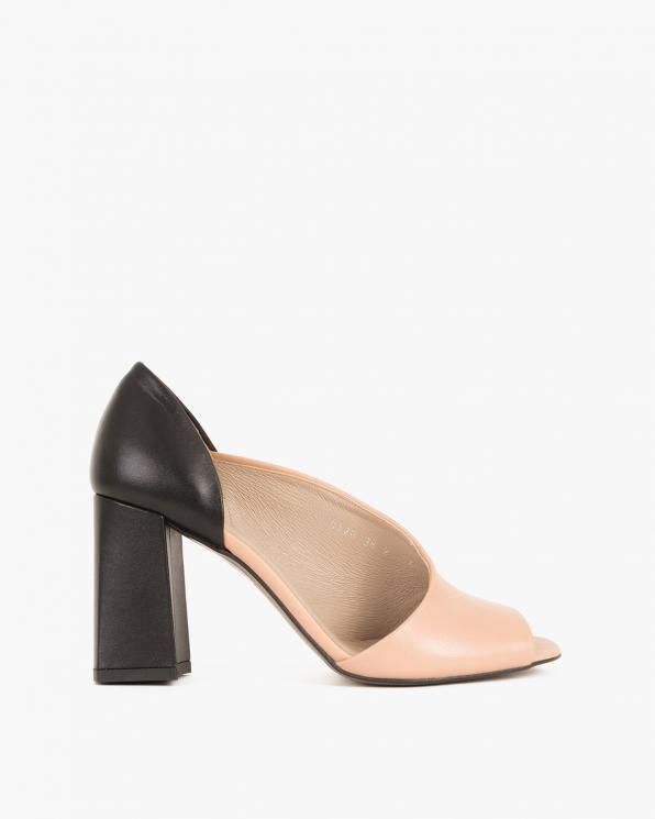 Beżowo-czarne sandały skórzane na słupku  012 0210-8210