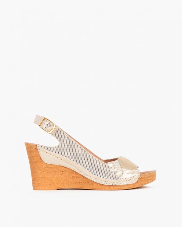 Złote sandały skórzane na koturnie  082 8381-ZŁO ROS