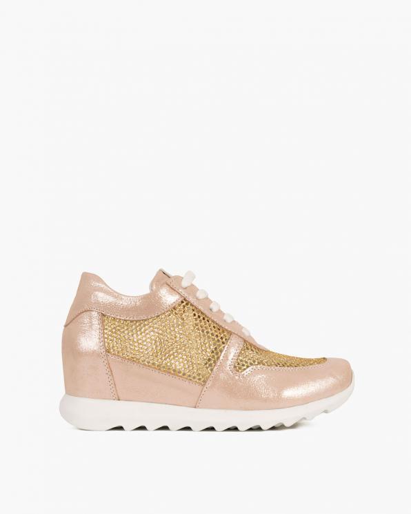 Pudrowe sneakersy nubukowe ażurowe  080 208-RÓŻ