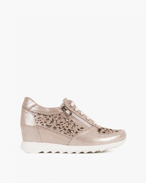 Srebrne sneakersy nubukowe  080 106-2 KWIATY