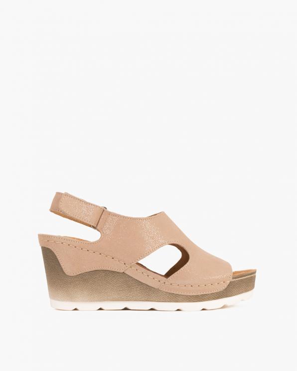 Beżowe sandały nubukowe na koturnie  043 274S-BEZ NUB