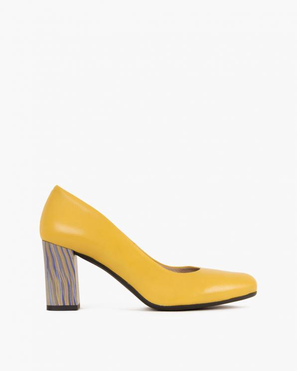 Żółte czółenka skórzane na słupku  012-4683-120-ŻÓŁ